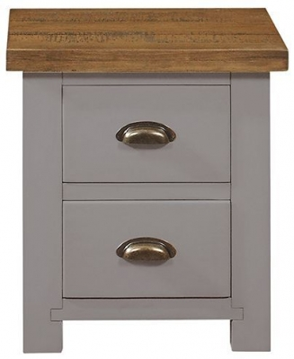 Regatta Grey Painted 2 Drawer Bedside Cabinet