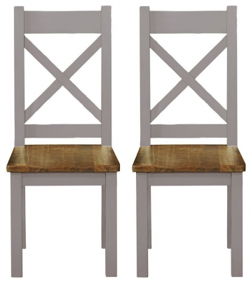 Regatta Grey Painted Cross Back Dining Chair (Pair)