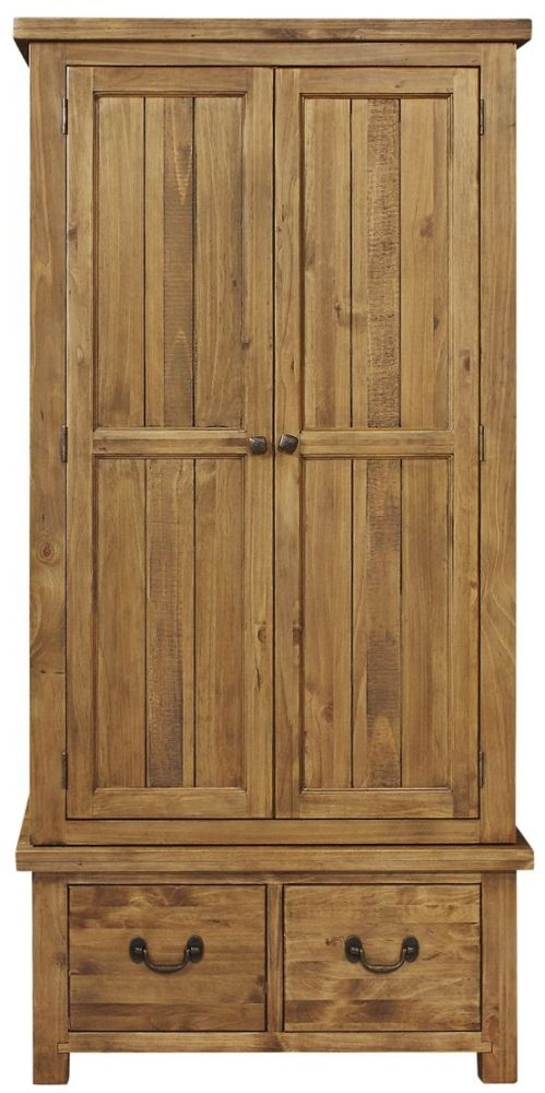 Regatta Rustic Pine Wardrobe - 2 Door 2 Drawer