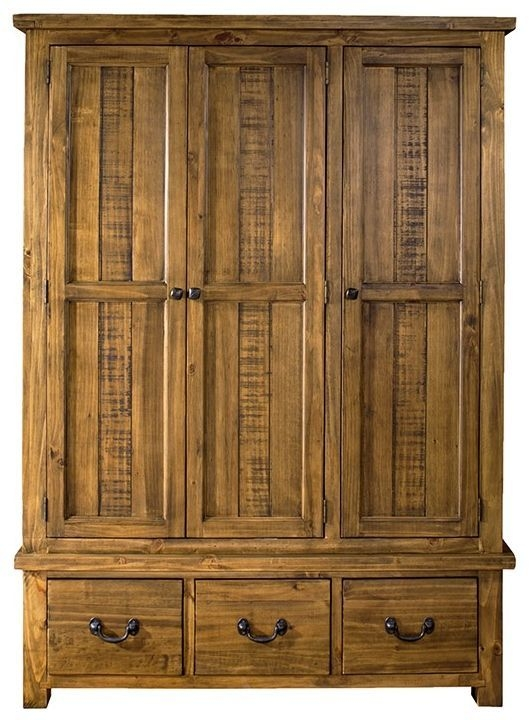 Regatta Rustic Pine Wardrobe - 3 Door 3 Drawer