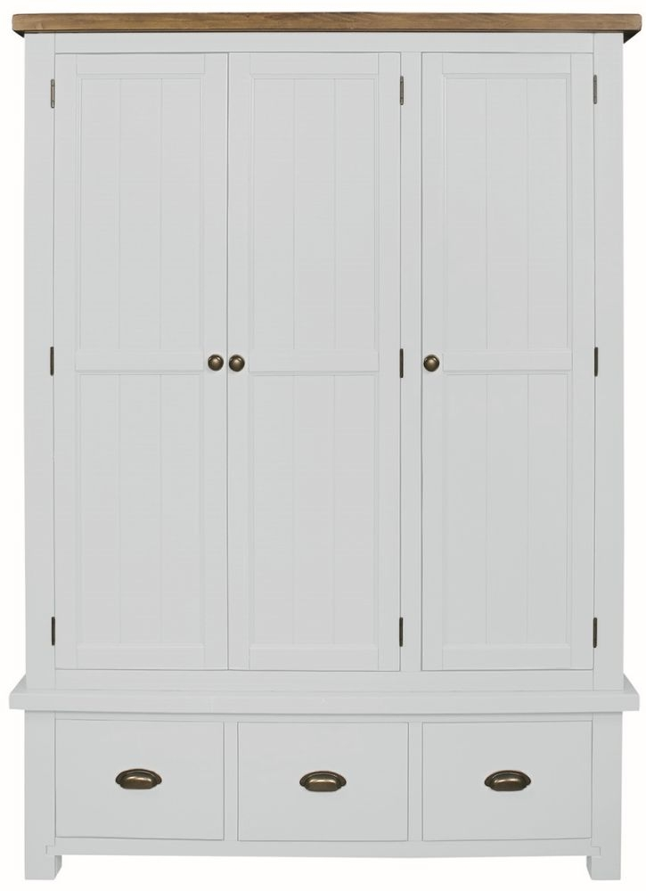 Regatta White Painted 3 Door 3 Drawer Wardrobe