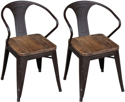 Renton Industrial Metal Dining Chair (Pair)