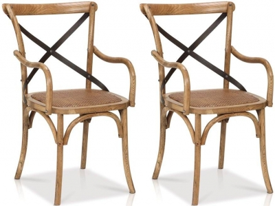Renton Industrial Oak Cross Back Dining Armchair (Pair)