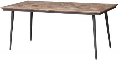 Renton Industrial Reclaimed Elm Parquet Top Dining Table