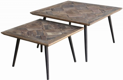 Renton Industrial Reclaimed Elm Parquet Top Nest of 2 Side Tables