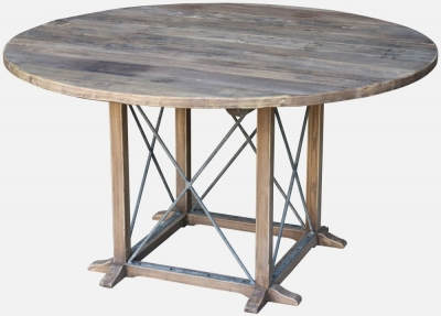 Renton Industrial Reclaimed Elm Round Dining Table