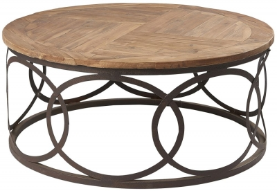 Renton Industrial Reclaimed Pine Round Coffee Table