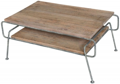 Renton Reclaimed Oak Coffee Table with Shelf