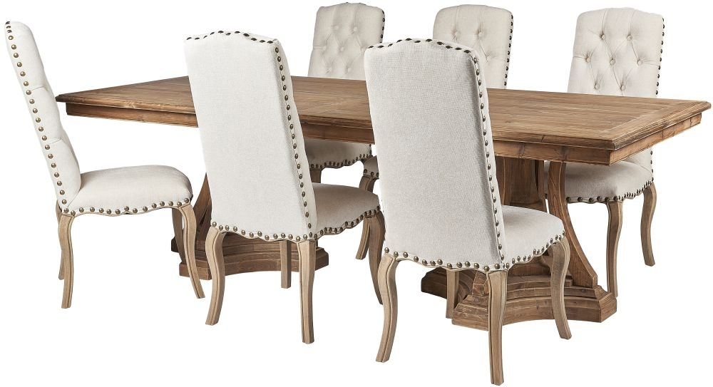 Renton Reclaimed Pine Dining Table and Cream Fabric Chairs with Bronze Nails