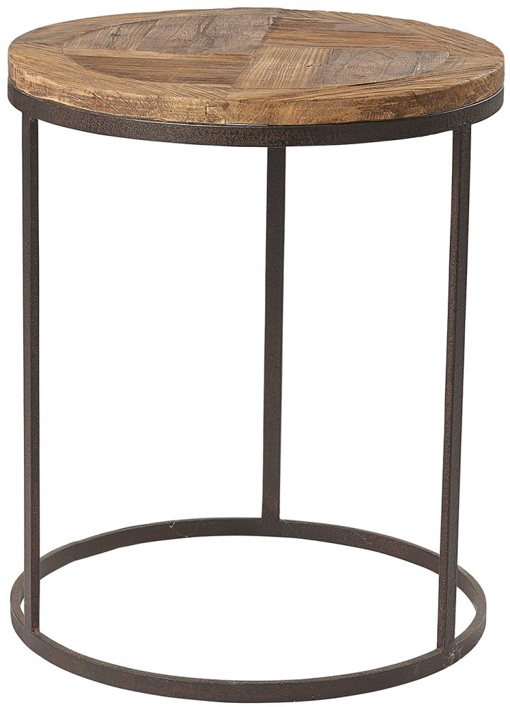 Renton Industrial Reclaimed Pine Round Lamp Table