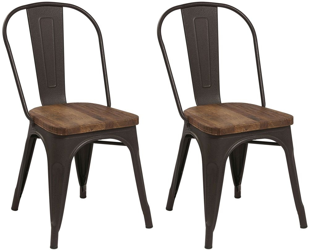 Renton Industrial Metal Solid Back Dining Chair (Pair)