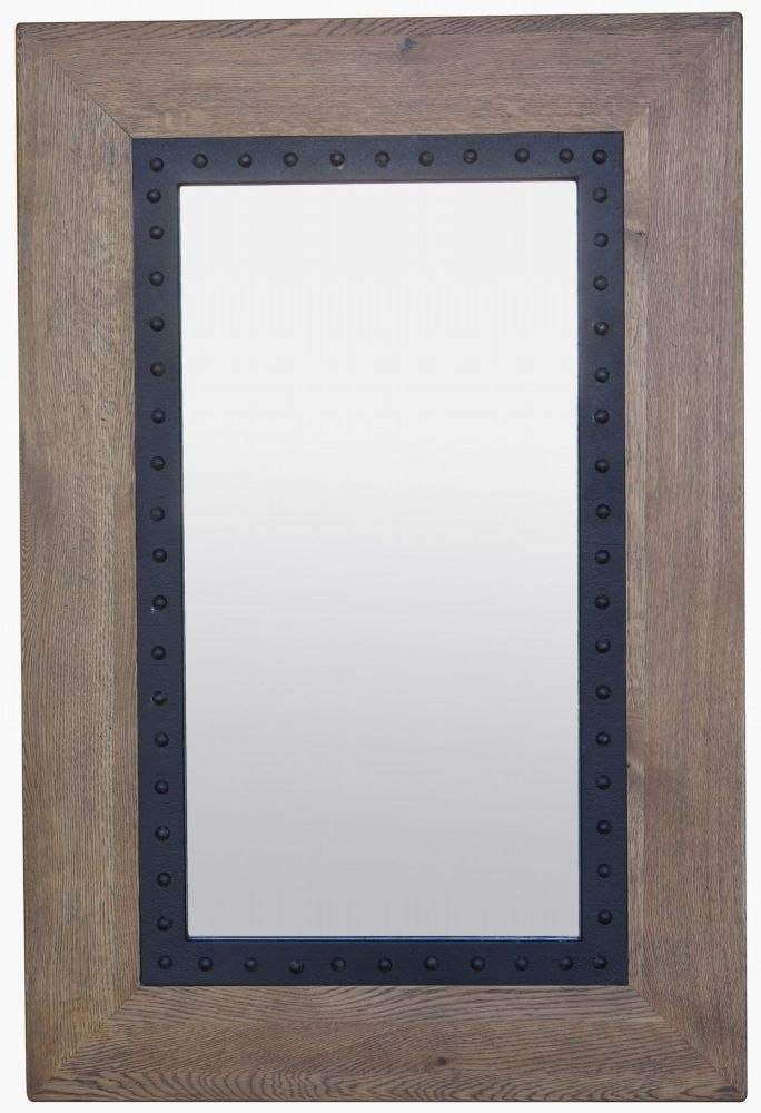 Renton Industrial Oak Rectangular Mirror - 80cm x 120cm