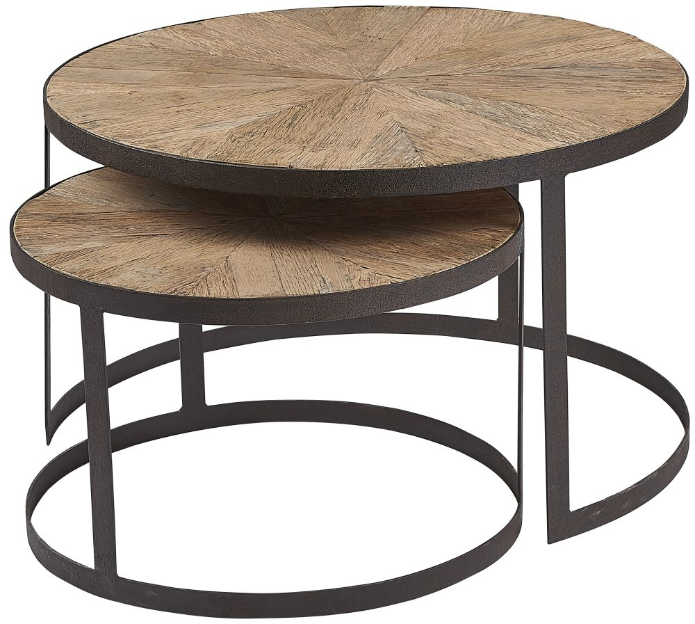 Renton Industrial Reclaimed Elm Nest of 2 Side Tables