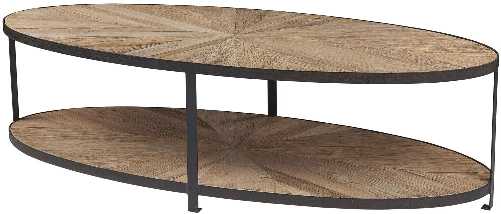 Renton Industrial Reclaimed Elm Oval Coffee Table