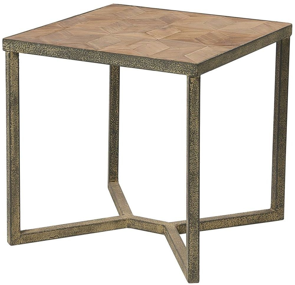 Renton Industrial Reclaimed Pine Parquet Side Table