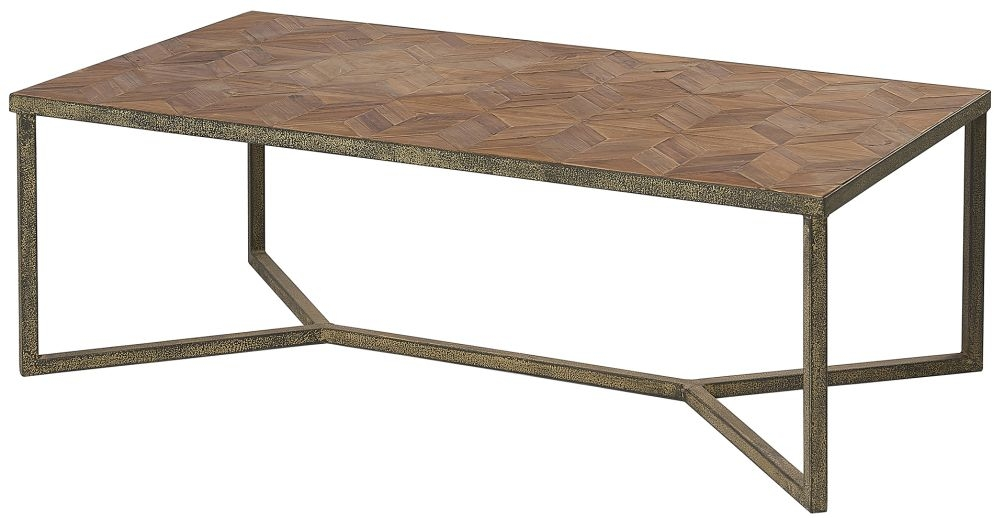 Renton Industrial Reclaimed Pine Parquet Top Coffee Table