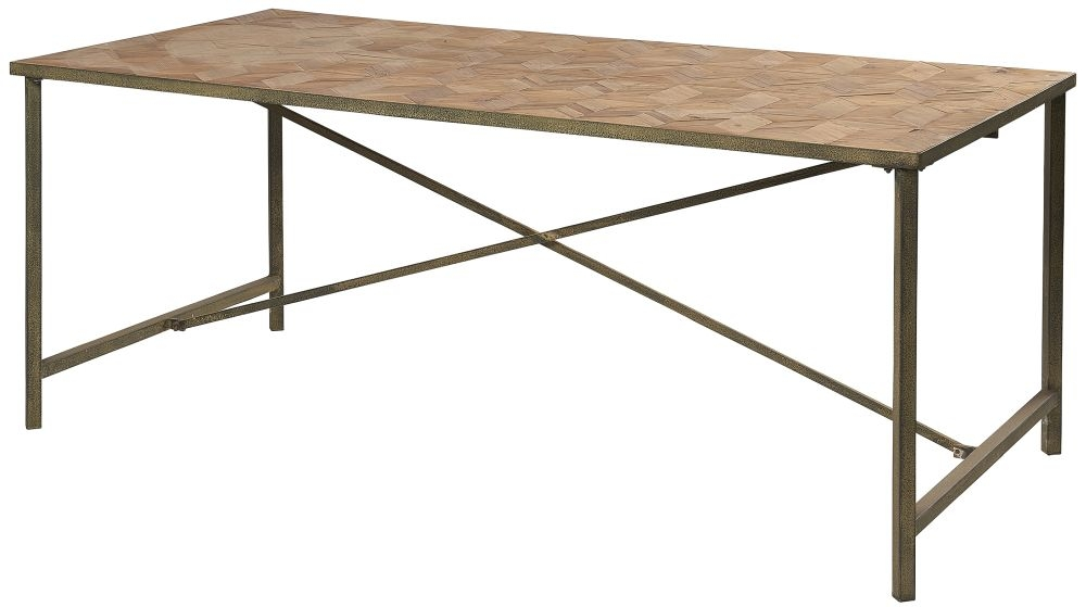 Renton Industrial Reclaimed Pine Parquet Top Dining Table