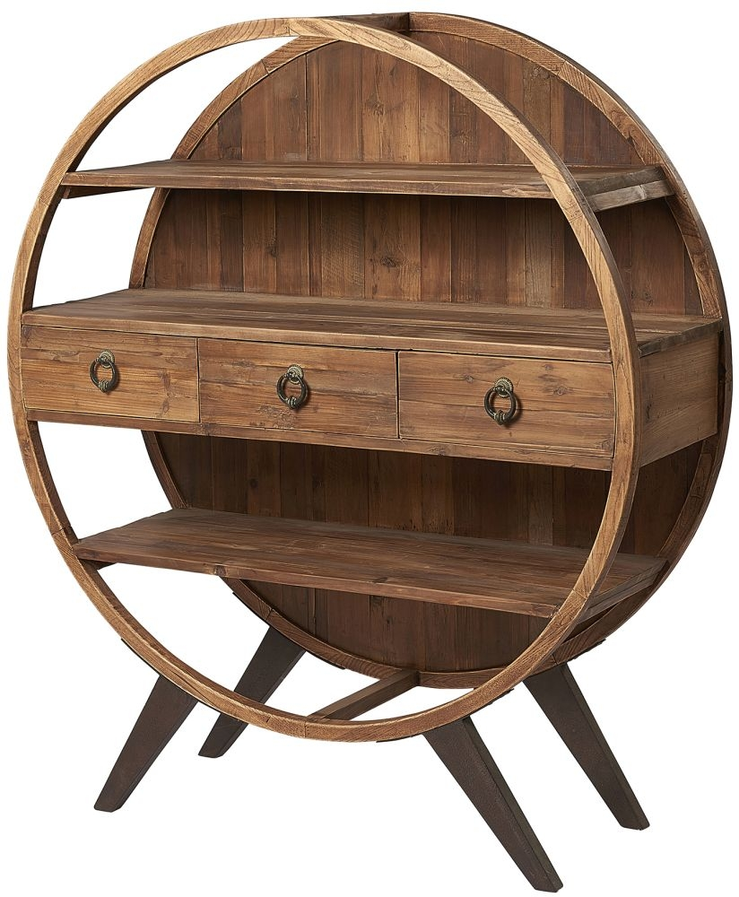 Renton Industrial Reclaimed Pine Round Display Cabinet