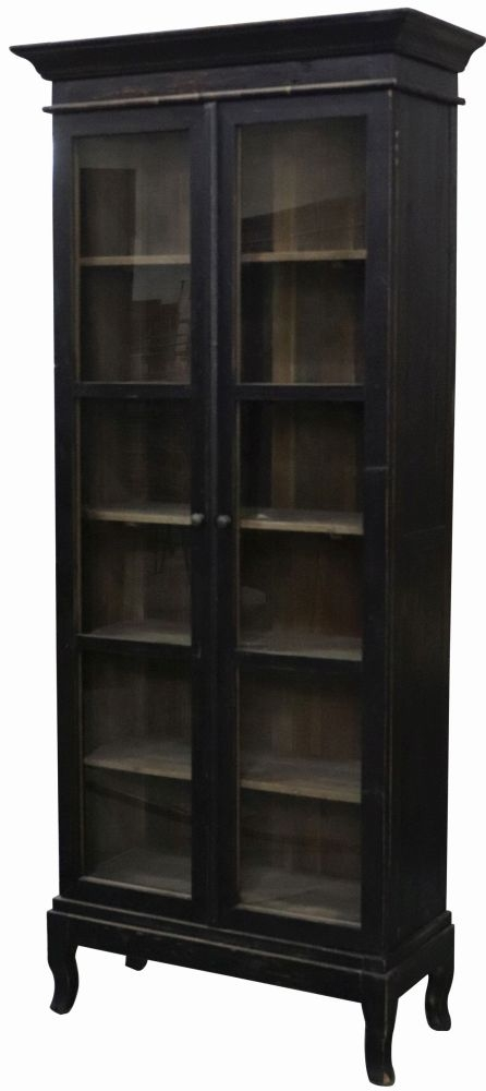 Renton Old Pine Black Display Cabinet