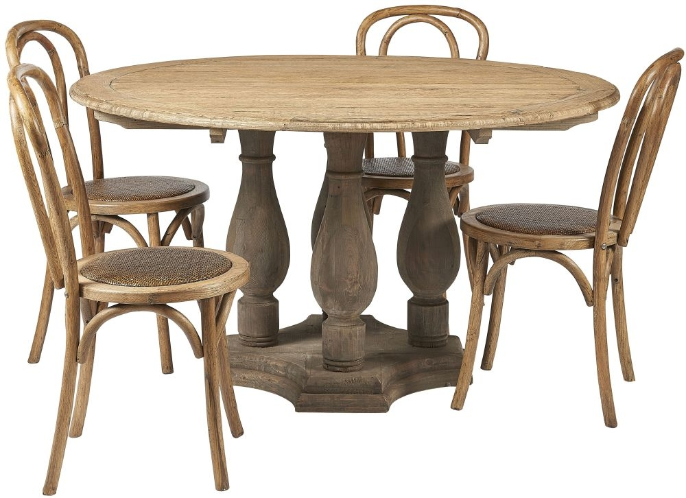Renton Reclaimed Elm Round Dining Table and 4 Cafe Chairs