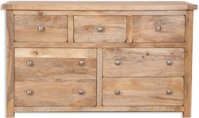 Bombay Oak Chest of Drawer - Wide 7 Drawer