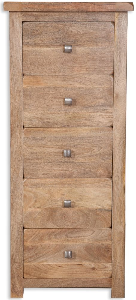 Bombay Oak Chest of Drawer - Tall 5 Drawer