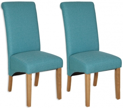 Bombay Oak Aqua Fabric Dining Chair (Pair)