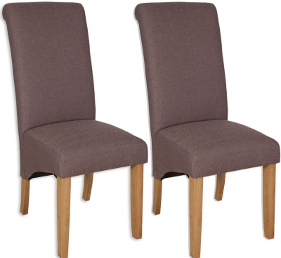 Bombay Oak Coffee Fabric Dining Chair (Pair)