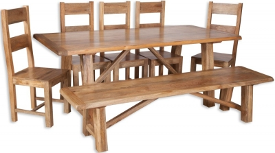 Bombay Dining Set with 5 Wooden Chairs and Bench