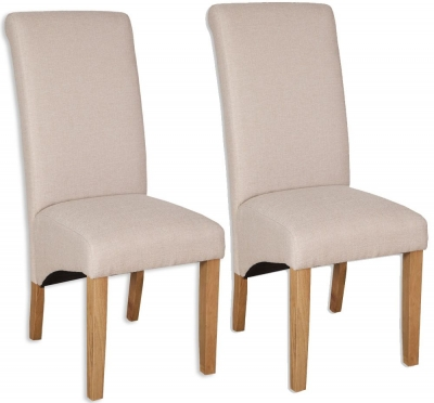 Bombay Oak Natural Fabric Dining Chair (Pair)