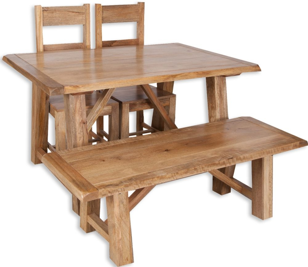 Bombay Dining Set with 2 Wooden Chairs and Bench