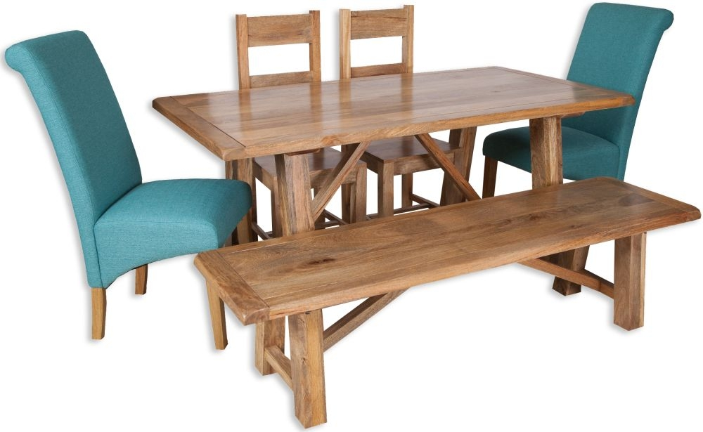 Bombay Oak Dining Set with 2 Wooden and 2 Fabric Chairs and Bench