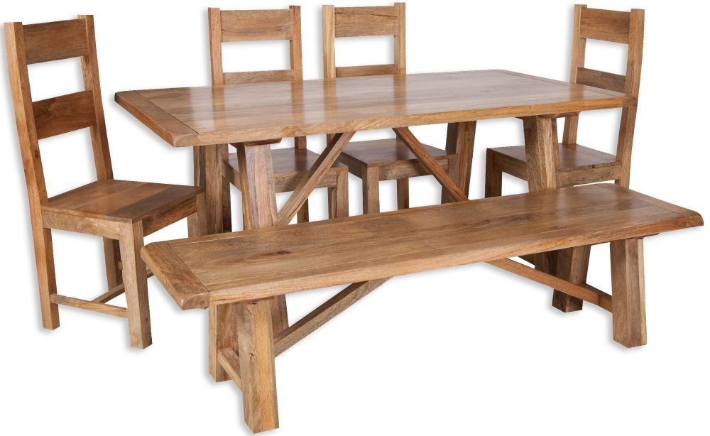 Bombay Oak Dining Set with 4 Wooden Chairs and Bench