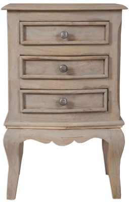 Calais Grey Washed French Style Large Bedside Cabinet