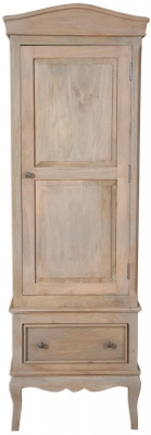 Calais Grey Washed French Style 1 Door 1 Drawer Wardrobe
