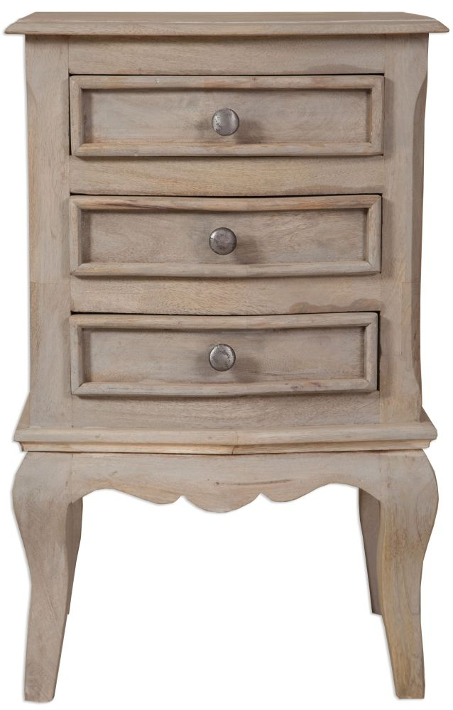 Calais Grey Washed Large Bedside Cabinet