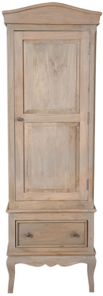 Calais French Style Lime Washed Wardrobe - 1 Door - 1 Drawer