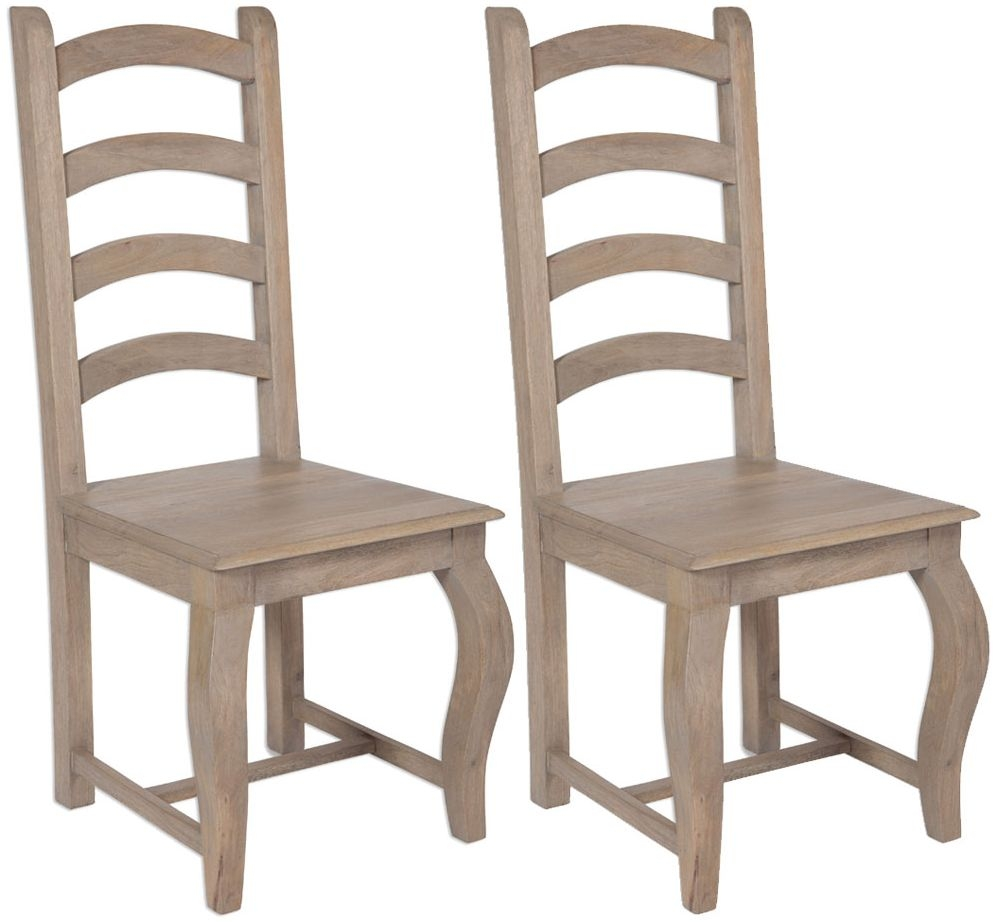 Calais Grey Washed High Back Dining Chair (Pair)