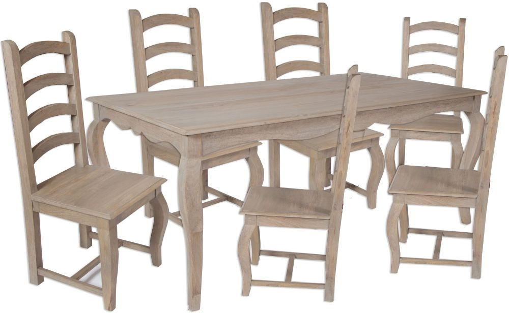 Calais French Style Lime Washed Dining Set with 6 Chair