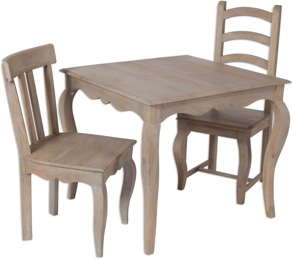 Calais Grey Washed Small Square Dining Table and 2 Chairs