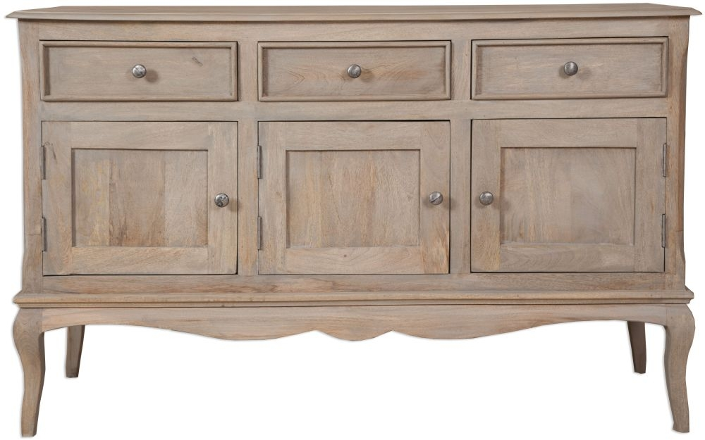 Calais French Style Lime Washed Sideboard - 3 Door 3 Drawer
