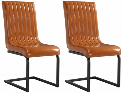 City Oslo Antique Tan Leather Dining Chair (Pair)