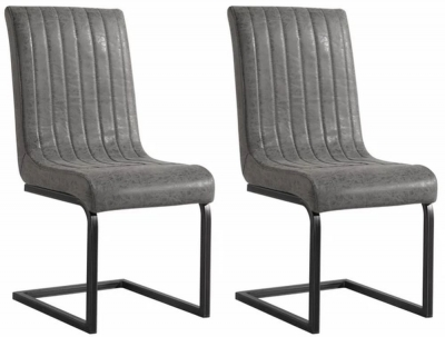 City Oslo Antique Grey Leather Dining Chair (Pair)