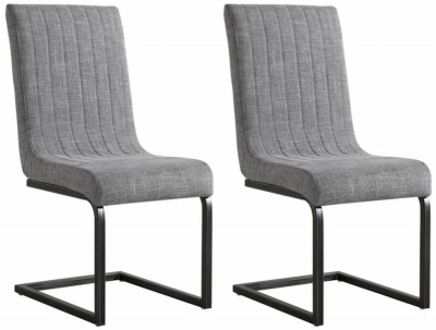 City Oslo Grey Fabric Dining Chair (Pair)