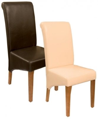 Natural Oak Leather Dining Chair (Pair)