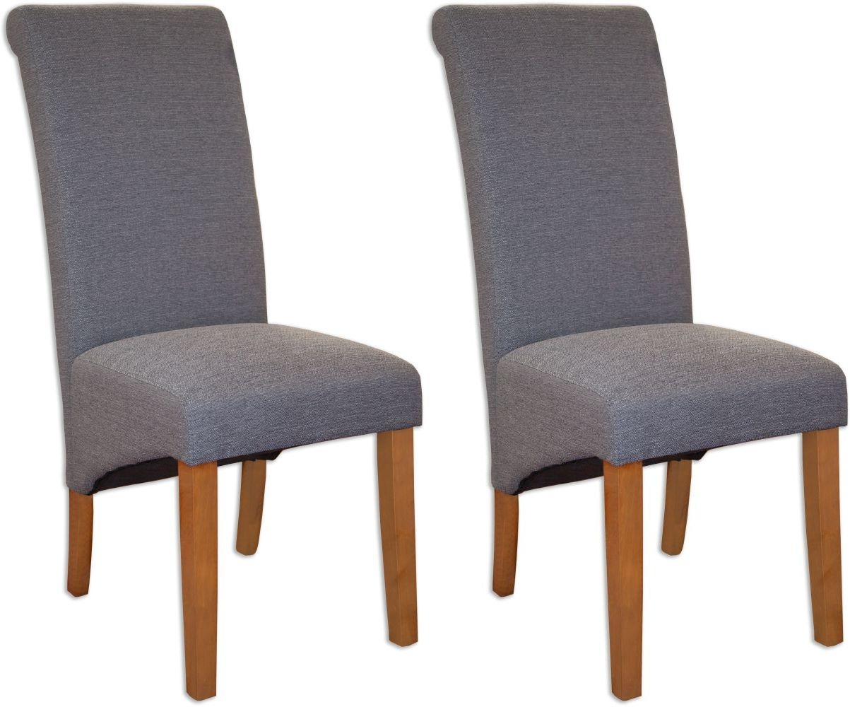 Perth Grey Fabric Dining Chair (Pair)
