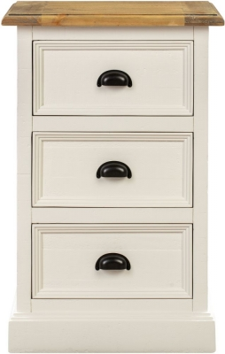 Farmhouse Painted 3 Drawer Bedside Cabinet