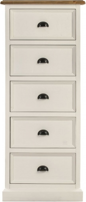 Farmhouse Painted 5 Drawer Tall Chest