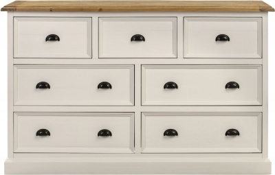 Farmhouse Painted 7 Drawer Wide Chest