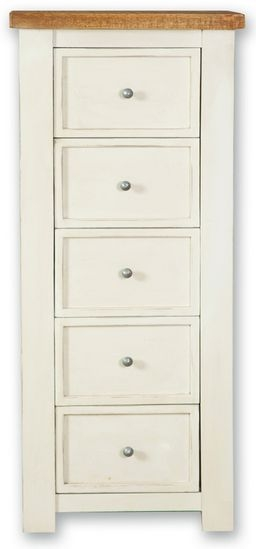 Kaveri Distressed Painted Tall Chest of Drawer - 5 Drawer